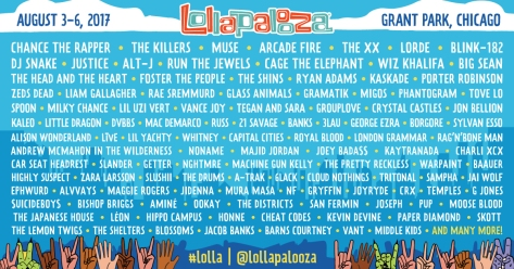 Lollapalooza Chicago Line Up