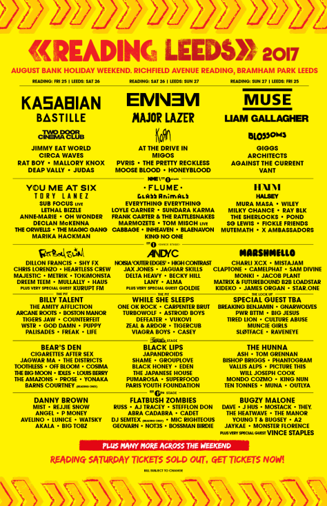 Reading Line Up Blog
